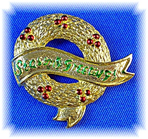 Vintage GERRY'S Seasons Greetings Christmas Brooch Pin (Image1)