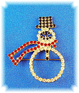 Vintage Crystal Claw Set Snowman Brooch Pin (Image1)
