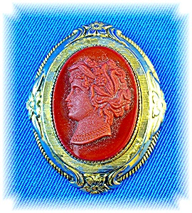 1 7/8 Burnt Orange Glass Cameo Brooch Pin (Image1)