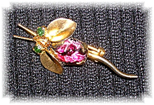 Jewelled Long Tail Fly Bug Brooch Made In AUSTRIA (Image1)