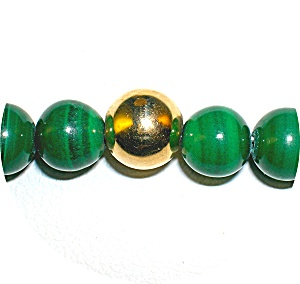 14K Gold Beads With 6mm Malachite Necklace (Image1)