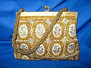 Vintage Gold Brocade Beaded Bag, Purse (Image1)