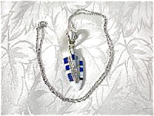 Sterling Silver Blue Lapis Opal Arrow Inlay Pendant