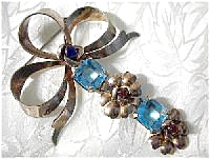 Antique Gold Vermeil Silver Silver  Blue Flower Brooch (Image1)
