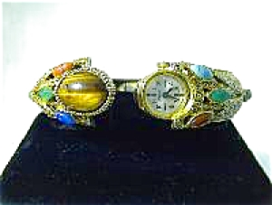 Gemstone Goldtone Bangle Bracelet Watch