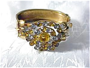 Goldtone & Rhinestone/Crystal Bangle Bracelet (Image1)