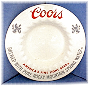 Cream & Red Adolph Coors Ashtray (Image1)
