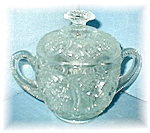 Covered Depression Glass Sugar Bowl
