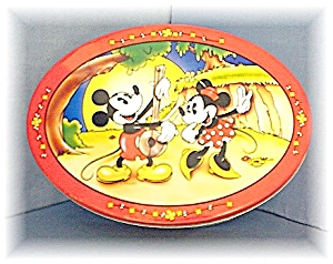 Cookie Tin Metal 1996 Mickey & Minnie Mouse