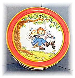 Cookie Tin 1987 Raggedy Ann & Andy  (Image1)