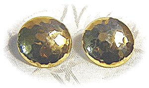 Pair Of Dimpled Round Goldtone Pierced Earrings (Image1)