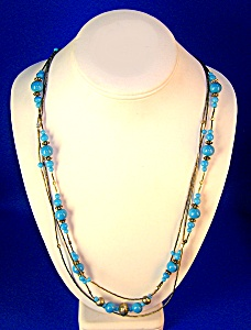 Necklace Liquid Silver Turquoise Glass Silver Beads