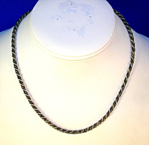 Necklace Sterling Silver And Gold Rope Box Italy