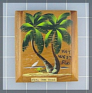 Compact Gum Wood Souvenier Of Key West Florida