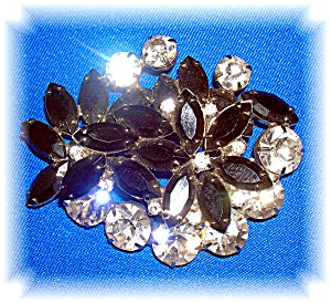 Black And White Crystal Double Flower Brooch