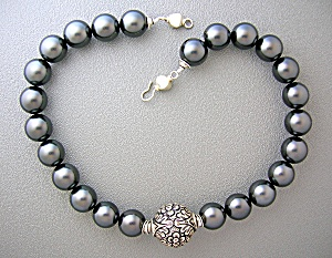 Sterling Silver Antique Bead And Grey Pearl Necklace