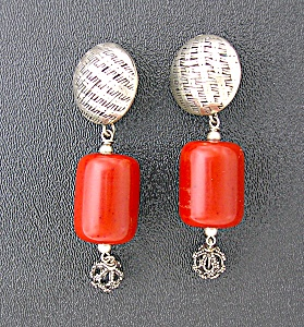 Silver and Carnelian Dangle Clip Earrings (Image1)