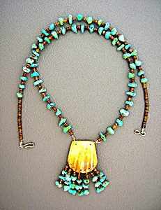 Turquoise Nuggets Heishi Bead Spiny Oyster necklace (Image1)