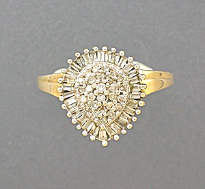 Diamond  Baguette and Round Yellow Gold Ring 1 1/2 Ct (Image1)