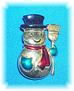 Signed SFL Snowman Christmas Brooch Pin (Image1)