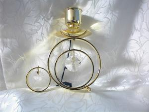 Brass And Swarovski Crystal Candle Holder
