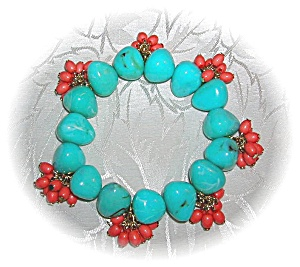 Turquoise & Coral Color Bead Expanda Bracelet (Image1)