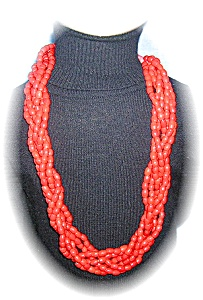 28 Inch 6 Strand Bright Red Glass Bead Neckla