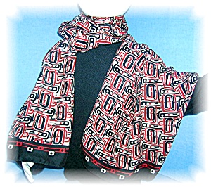Red/Black/Beige Silk 61 Inch Stole (Image1)