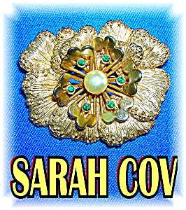 Goldtone Signed Sarah Coventry Flower Brooch (Image1)