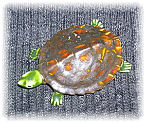 Ceramic Majolica Look Turtle 1976 Er