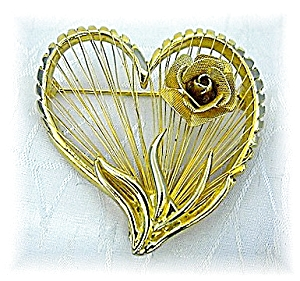 Gold BROOKS Heart & Rose Brooch (Image1)