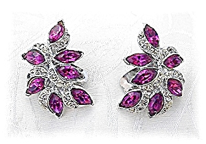 Fabulous Marquise Fuchia/Clear KRAMER Clip Earrings (Image1)