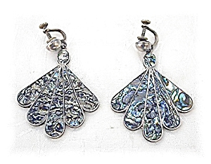 Sterling Silver Mosaic Inlay screw back  Earrings (Image1)