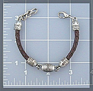 Brighton Silver Leather Bracelet Lobster Clasp
