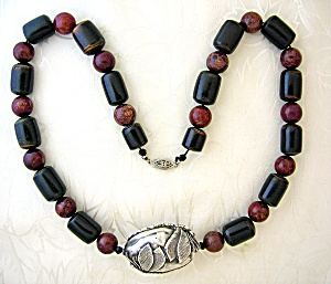 Sterling Silver Dragonfly Black Coral Agate Necklace . (Image1)