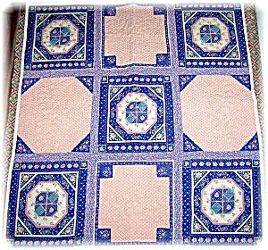 42x44 Inch Handstitched Pink and Blue Quilt (Image1)
