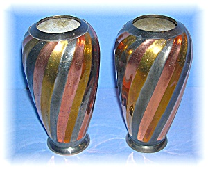 2 Brass Copper Silvertone Flower Vases (Image1)