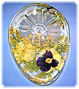 Vintage plastic Lucite Pansy Flower Spoon Holder (Image1)