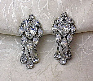 WEISS Crystal Rhodium Silver Dangle Clip Earrings (Image1)