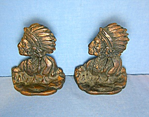 Cast Iron Copper Plate Native American Chief Book Ends (Image1)