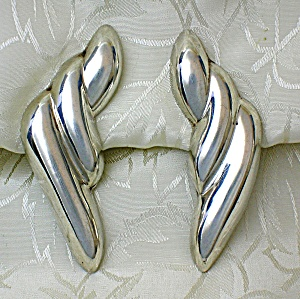 Sterling Silver Signed Taxco Mexico Clip Earrings (Image1)