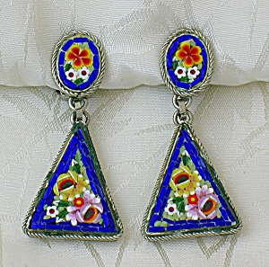 Glass Mosaic Clip Dangle Earrings Italy...