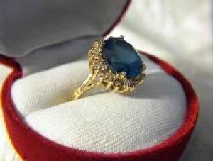 Ring14K Gold  1Ct Diamond 6ct London Blue Topaz (Image1)