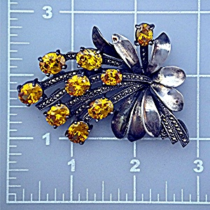Old Golden Citrine Marquisite And Silver Pin (Image1)