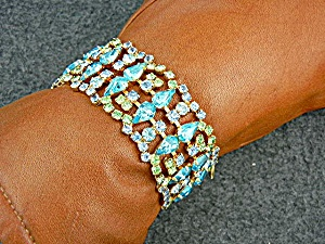 Hattie Carnegie Gold Blue Green Crystals Bracelet