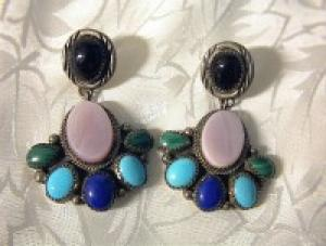 Native American Sterling Silver Turquoise Lapis Onyx Po