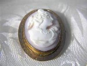Rose Gold And Rare Pink Coral Cameo Brooch
