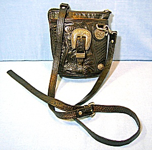 American West Black Leather Bag Silver Acdcents.... (Image1)