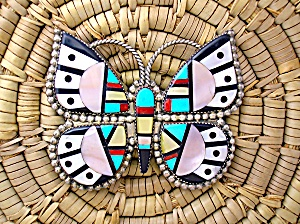 Native American Sterling Silver Inlay Butterfly Zuni (Image1)