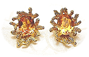Earrings 14k Gold And 4ct Golden Citrine Clips